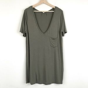 Pol Womens Olive Green Relaxed Fit V Neck T Shirt
